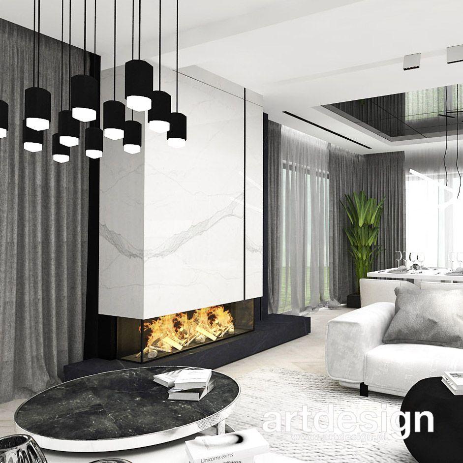 Czarno Biala Aranzacja Salonu Z Kominkiem Little By Little Wnetrza Domu House Interior Decor House Interior House