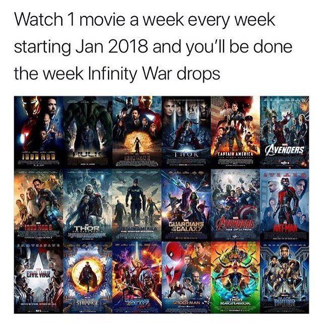 """Résultat de recherche d'images pour """"challenge marvel one movie per week"""""""