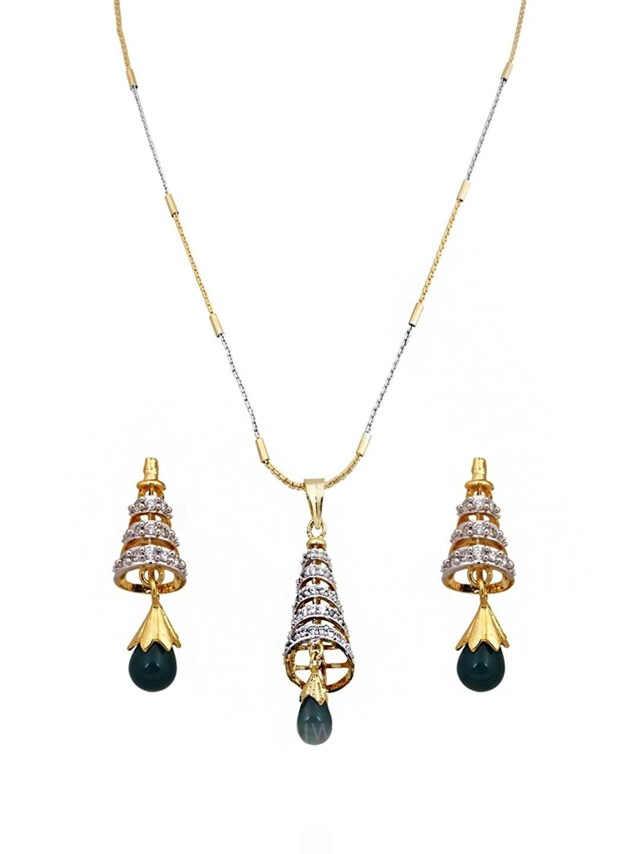 American diamond conical pendant set with green drop rajwadi