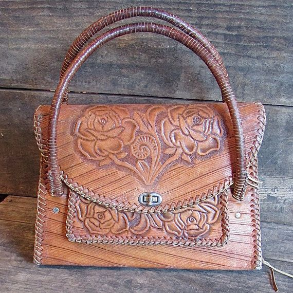 Mexican Tooled Leather Western Handbag with Tassels in by 5c5b479241009