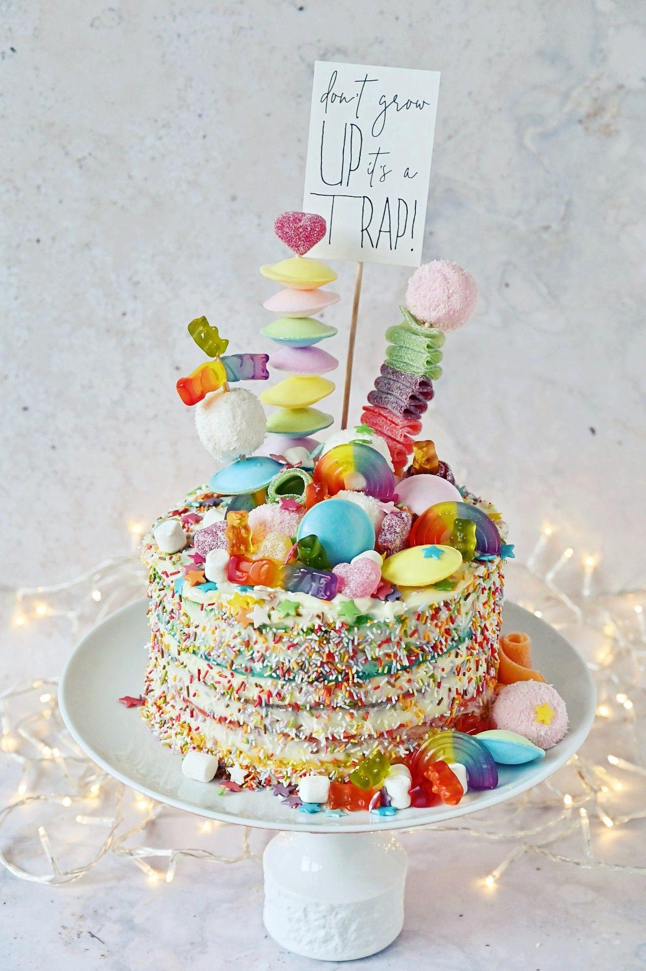 Regenbogen Torte Backen Rezept Fur Rainbow Candy Cake In 2020 Regenbogentorte Torte Ohne Backen Backen Kindergeburtstag