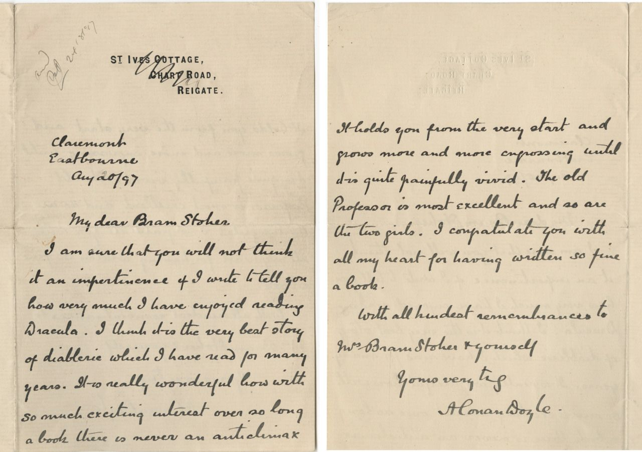 Arthur Conan DoyleS Letter To Bram Stoker Where He Expresses His