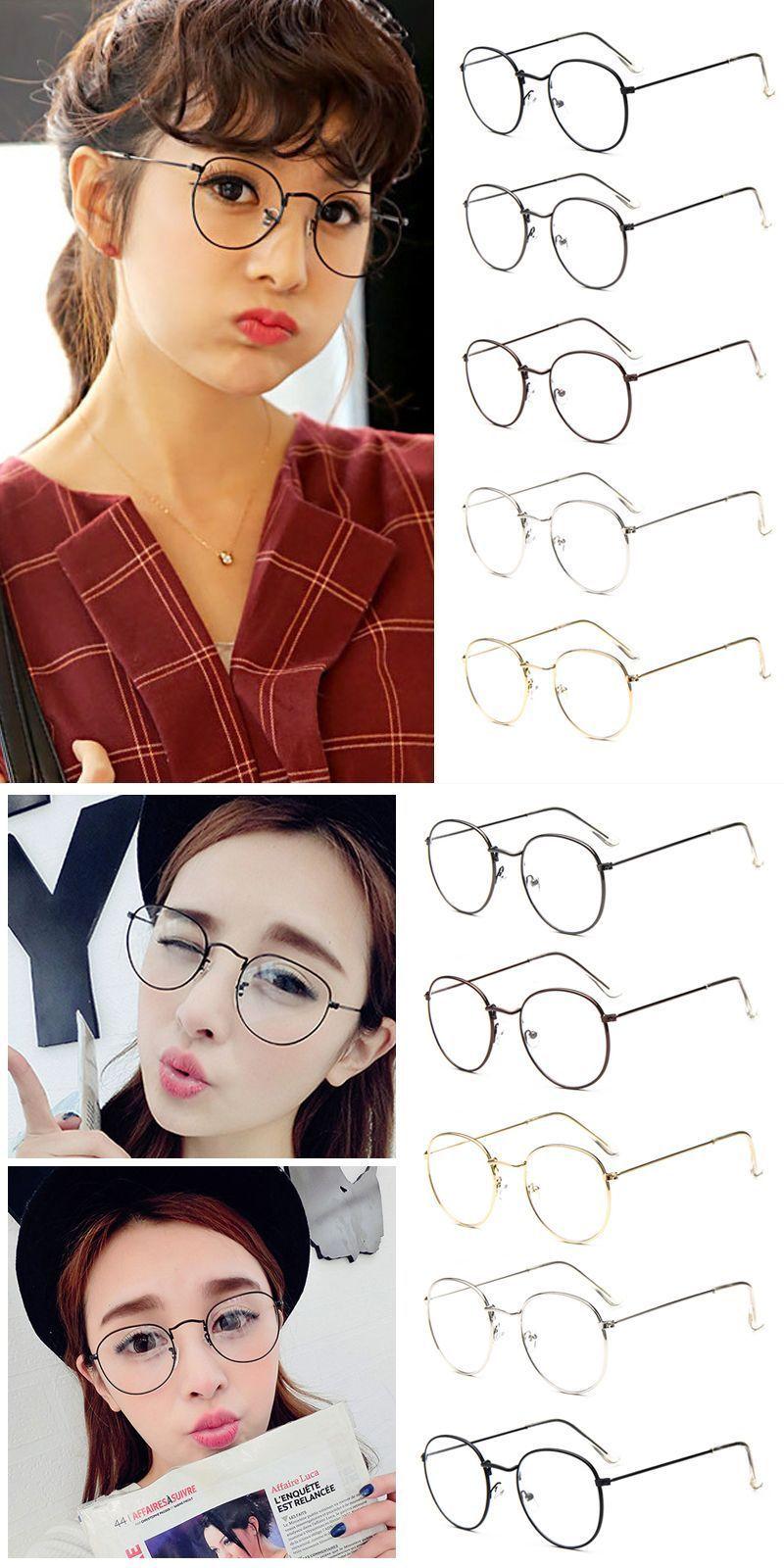 19f55a546b Fashion vintage women eye glasses frames plain mirror literary harajuku big  metal oval frame glasses oculos feminino masculino  frames  eyewear   accessories ...