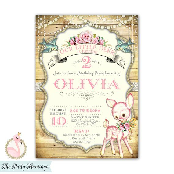 Rustic Deer Birthday Invitation Girl 1st 2nd 3rd Invites Theme Party Invitations Vintage Style