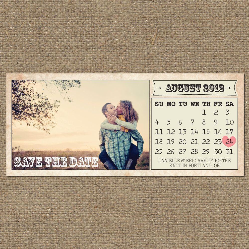 printable vintage save the date calendar. $20.00, via Etsy.