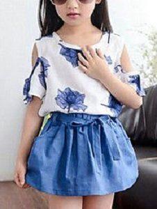 Conjunto blusa sin hombros y falda para niñas  1970068c1be3
