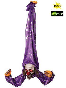 Terrifying Animated Upside Down Hanger Clown Prop