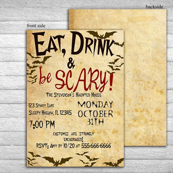Halloween Invitation Template Eat Drink And Be Scary Printable