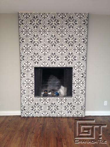 Cluny cement tiles for a chic fireplace installation for Cement tile installation
