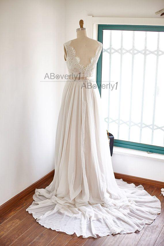 Spitze Chiffon Wedding Dress rückenfreie offenen von ABoverly1 ...