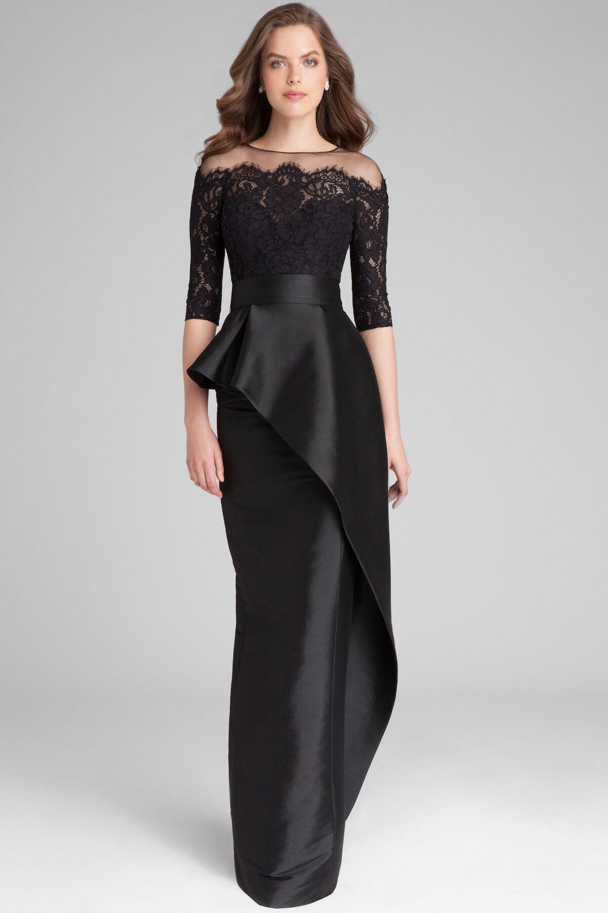 3 4 Sleeve Black Lace Peplum Gown Teri Jon Black Tie Event Dresses Peplum Gown Black Tie Gown [ 1800 x 1200 Pixel ]