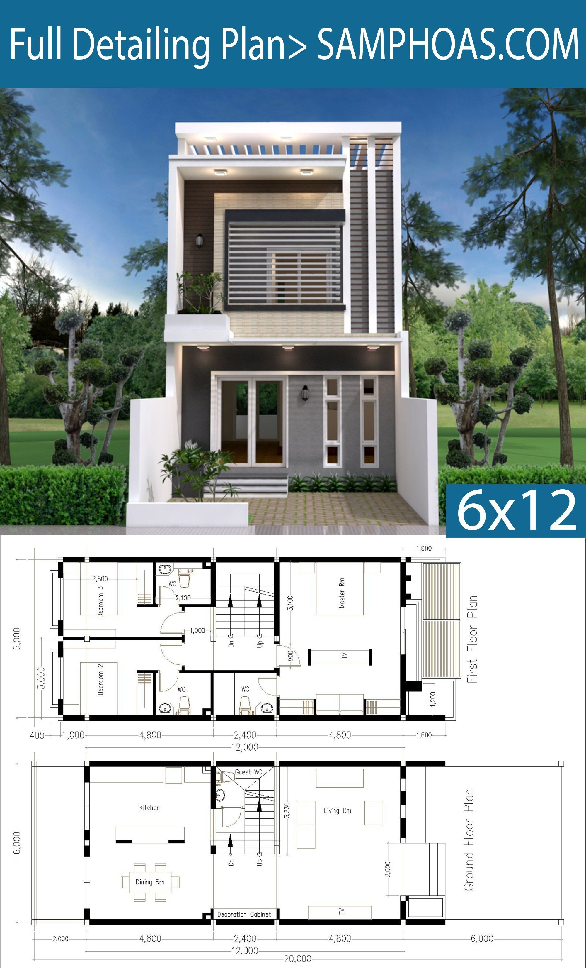 Modern Home Plan 6x12m With 3 Bedroom Samphoas Plan Narrow House Plans Duplex House Plans Minimalist House Design