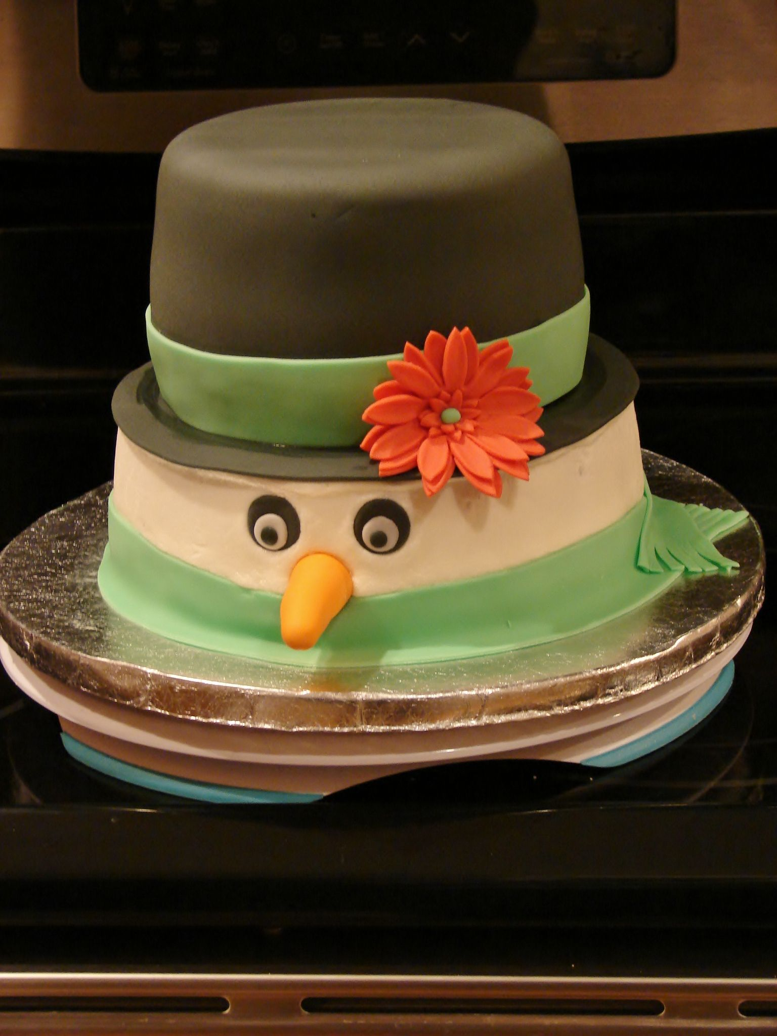 Top hat Snowman Cake Snowman cake for the kids with