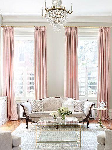 Suzanne Kasler-the Frederica, shown w/ grosgrain trim Entrance - wohnzimmer rosa beige