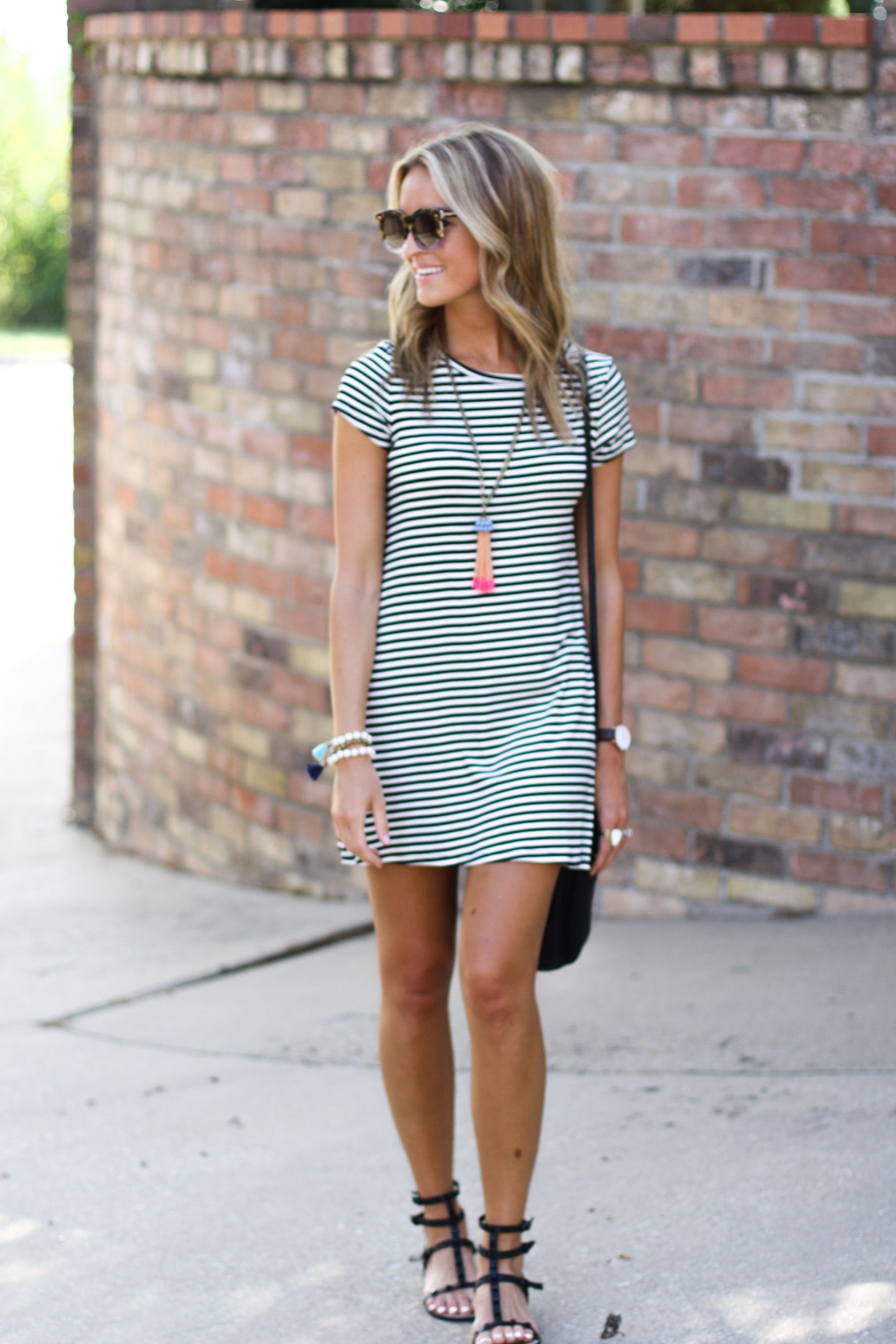 Style blogger lauren sims in our sam striped dress available on