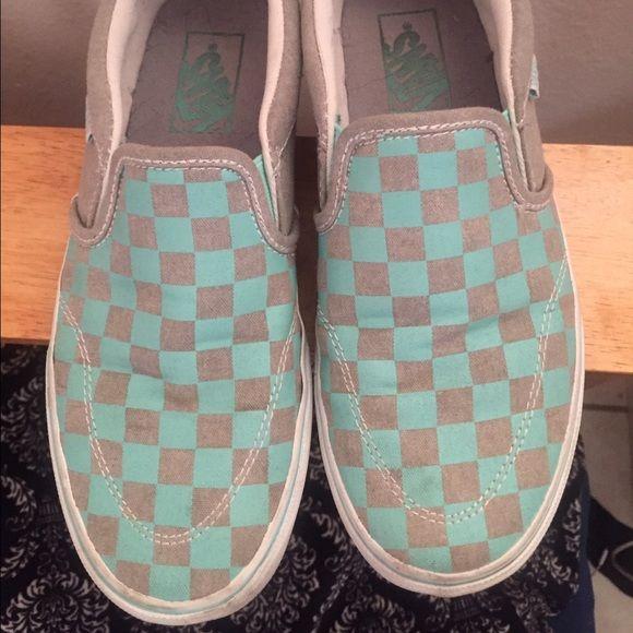 Checked gray Aqua Vans | Vans, Vans