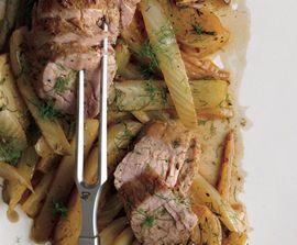 Fennel Rubbed Pork Tenderloin w/ roasted fennel wedges - Epicurious