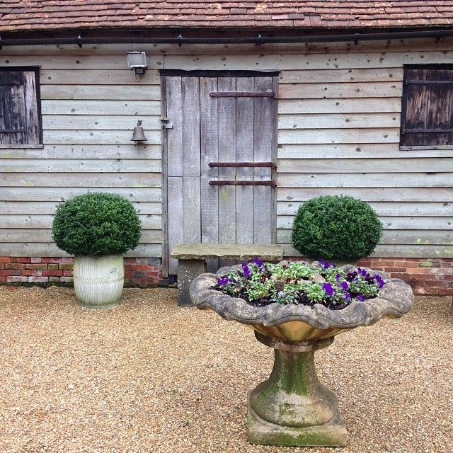 Flashback to my trip to England in March. Love the boxwood balls planted in vintage galvanized tubs. And the birdbath as planter. #countryliving #countrylife #england #flashbackfriday #fbf