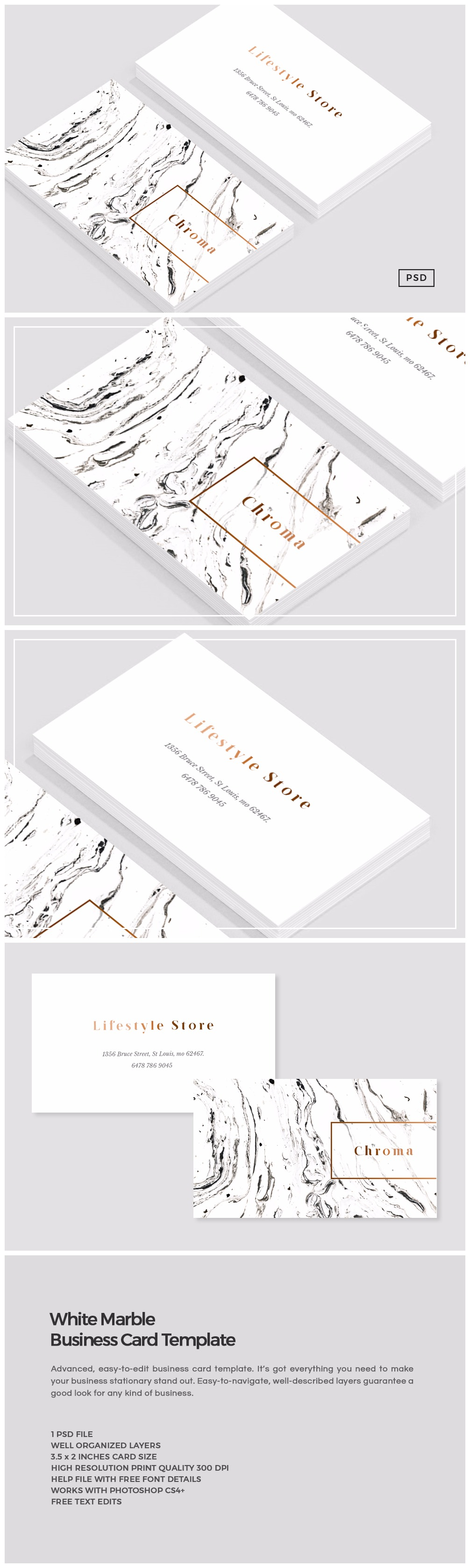 White marble copper business card by the design label on white marble copper business card by the design label on creativemarket reheart Choice Image