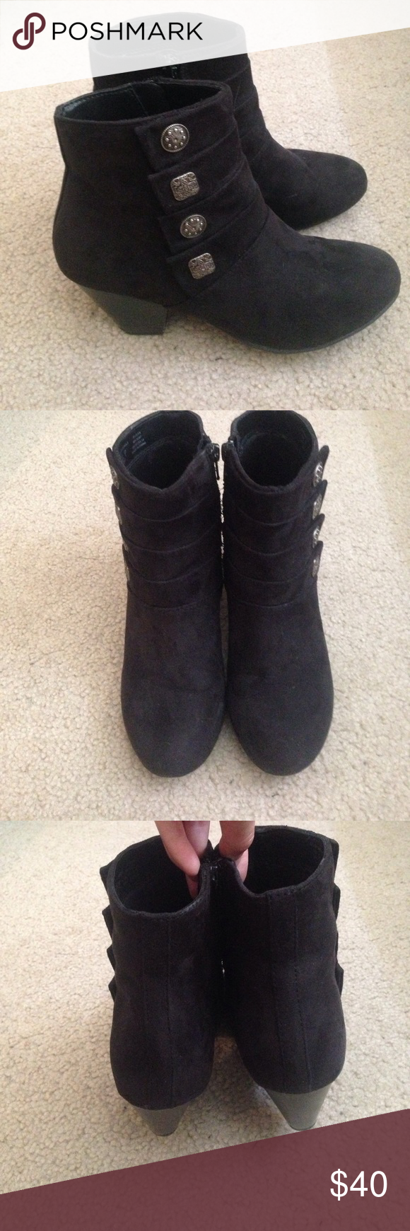Cute Black Booties w/ 2in chunky heel These shoes are a size 6.5 and I wear a size 7. Beautiful shoes, great condition. They include zipper sides for slipping on without warping the shoe. Beautiful suede with no scuffs! Fits true to size.only worn a few times!! Covington Shoes Ankle Boots & Booties