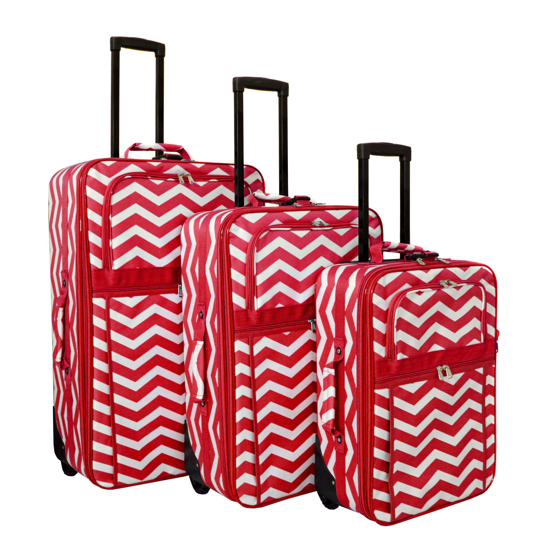 bdd10199c2 World Traveler Chevron Collection Expandable 3-piece Wheeled Upright Luggage  Set