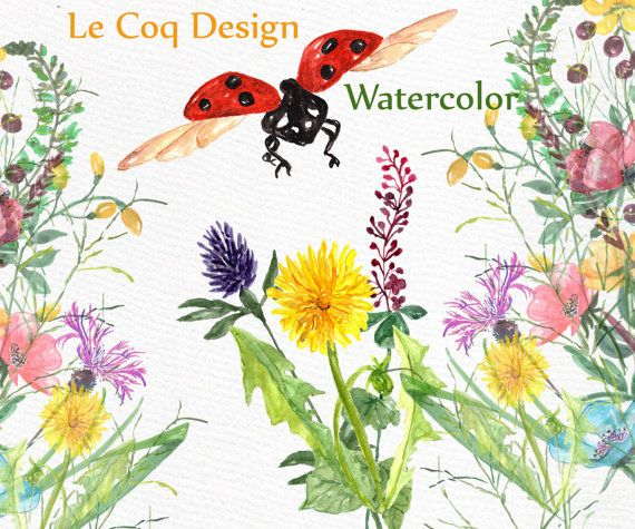 Watercolor Flowers Clipart: FLORAL CLIP ART Wedding от LeCoqDesign