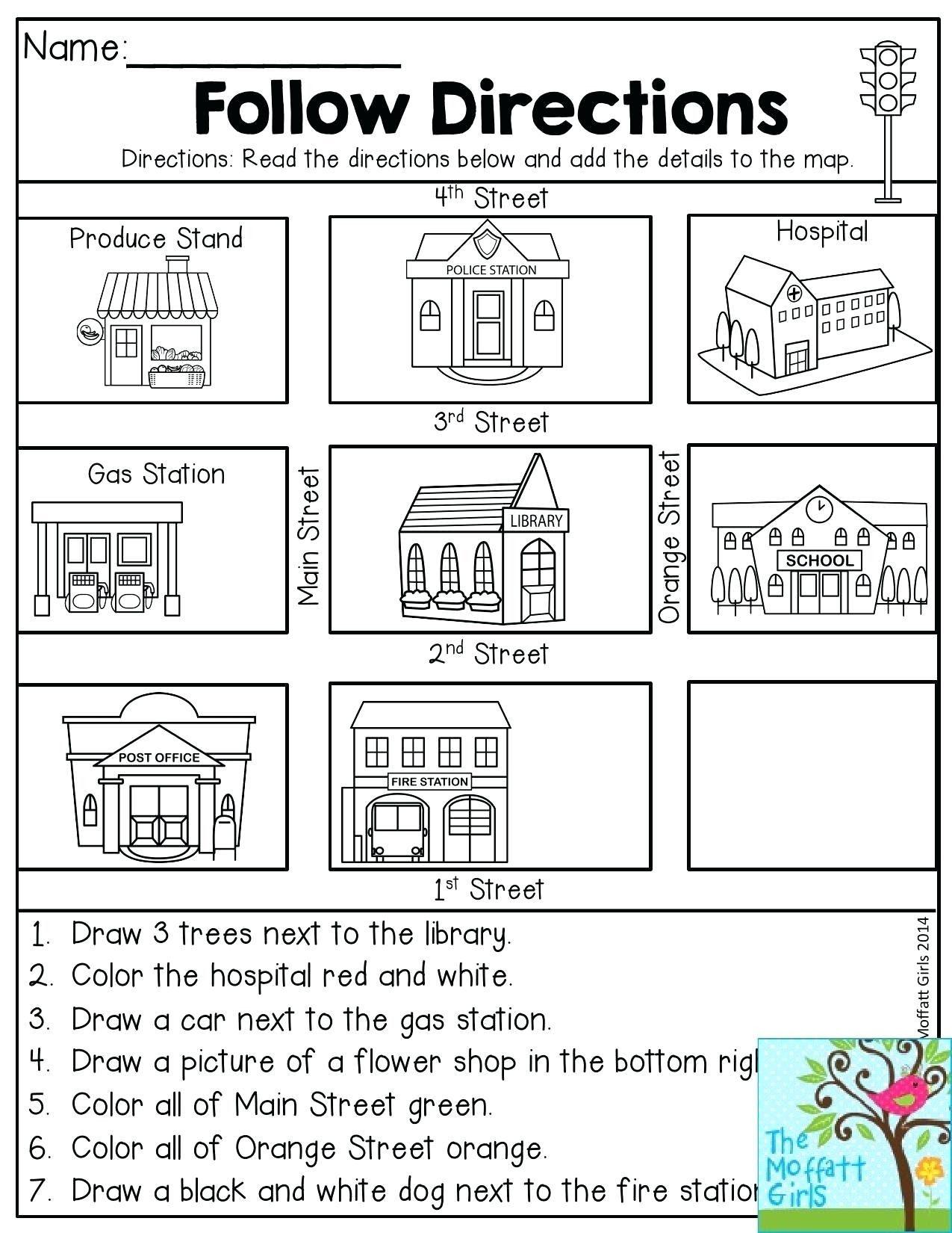 Compass Worksheets For Kids   Kindergarten social studies [ 1650 x 1275 Pixel ]