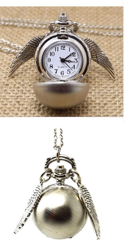 Photo of Harry Potter Golden Snitch Pocket Watch Necklace – UshopTwo