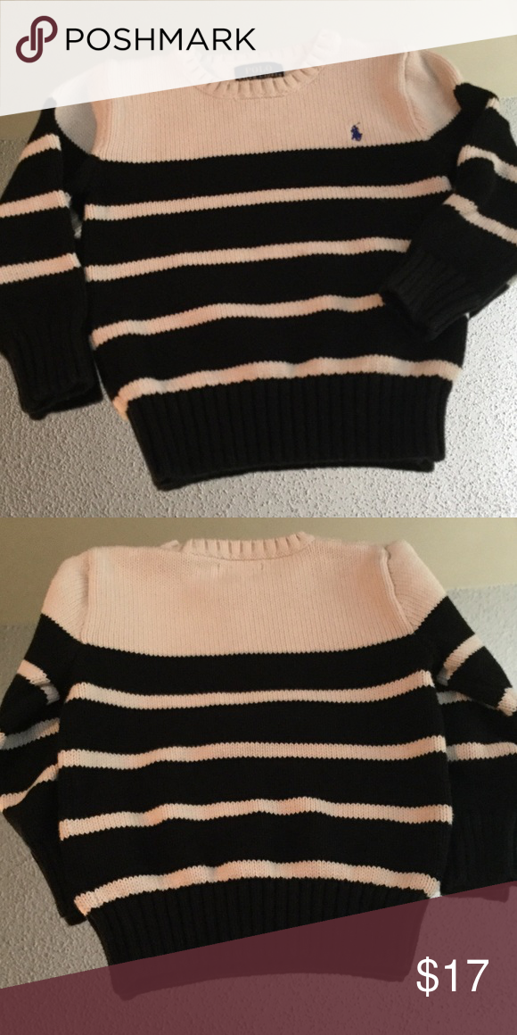 Ralph Lauren toddler sweater Only got to wear this once before outgrowing, really nice black and off white striped RL sweater with blue logo Ralph Lauren Shirts & Tops Sweaters