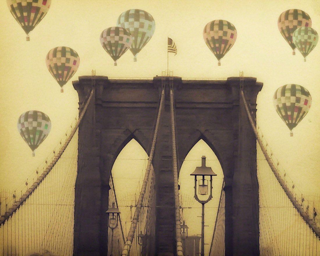 Hot Air Balloons - New York photograph - Balloons over the Bridge ...
