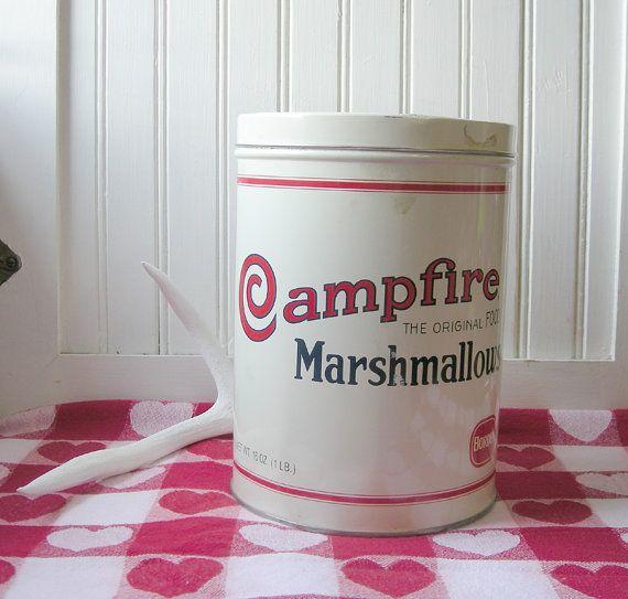 Campfire Marshmallow Tin at Etsy listing at http://www.etsy.com/listing/160354329/vintage-campfire-marshmallows-tin