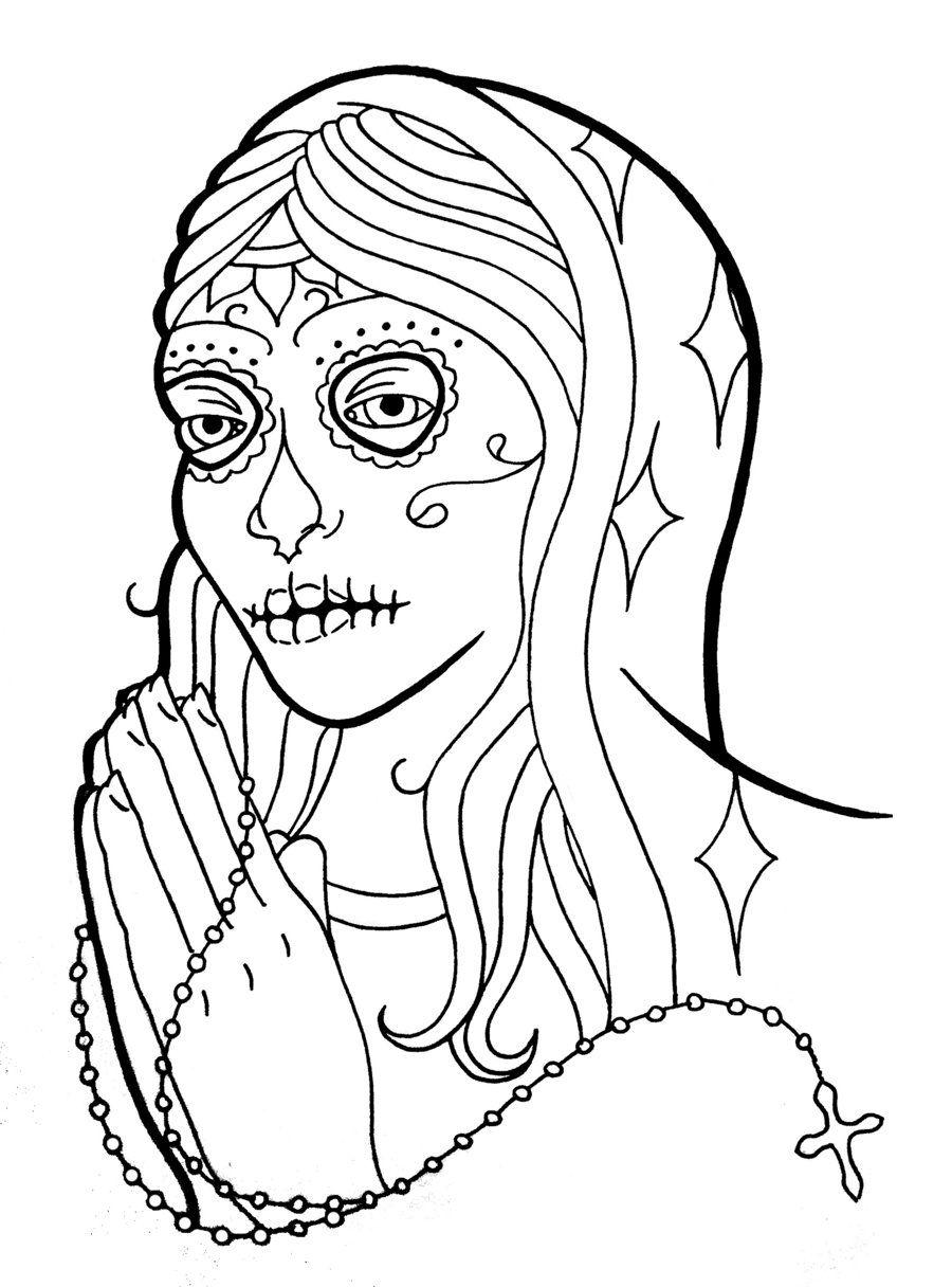 Sugar Skull Outline Skull outline tattoos page 2