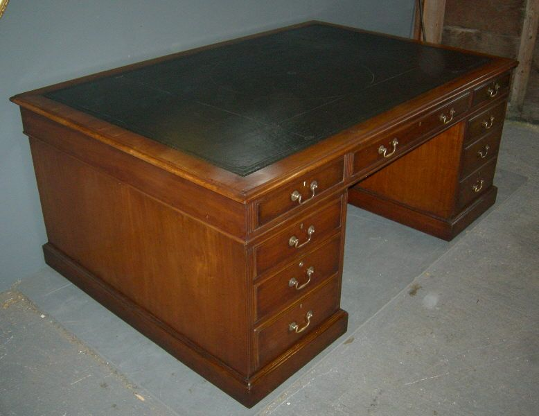 6ft Antique Partners Desk - Large Late 19th Century Georgian Manner 6ft  Victorian Mahogany Partners Desk - 6ft Antique Partners Desk - Large Late 19th Century Georgian