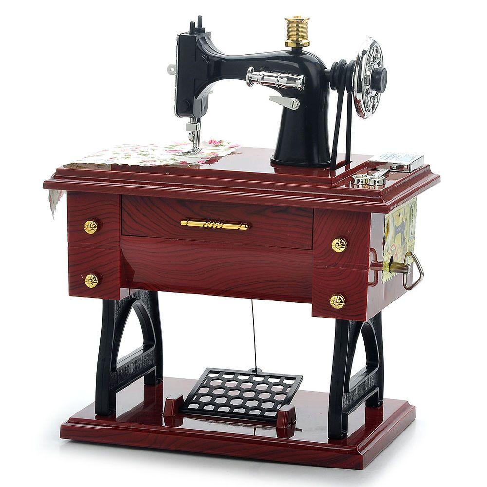 Vintage Mini Sewing Machine Style Mechanical Music Box Gift