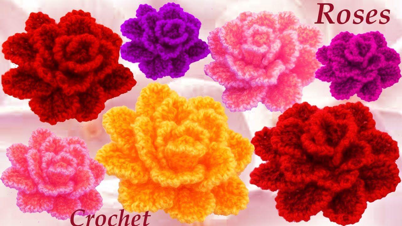 Como Tejer flor rosa casi natural tejido a Crochet | Flores ...