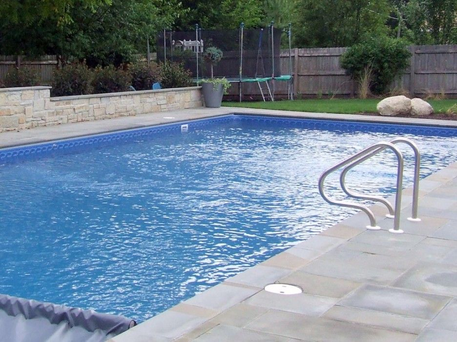 Cool inground pool liners design with natural decoration
