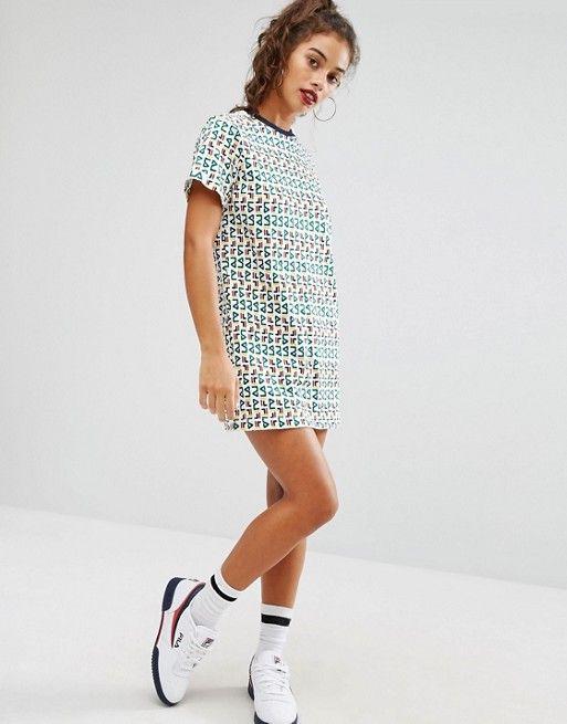 Fila Petite | Fila Petite Oversized Motif Print Tshirt Dress