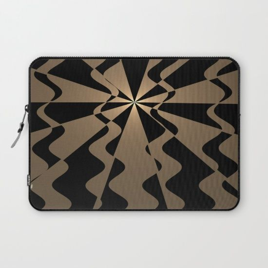 Trendy abstract in gold and black Laptop Sleeve