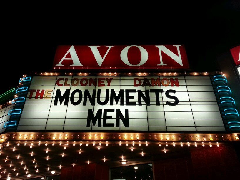 The Monuments Men movie on the marquee of the Avon Theater Decatur Illinois