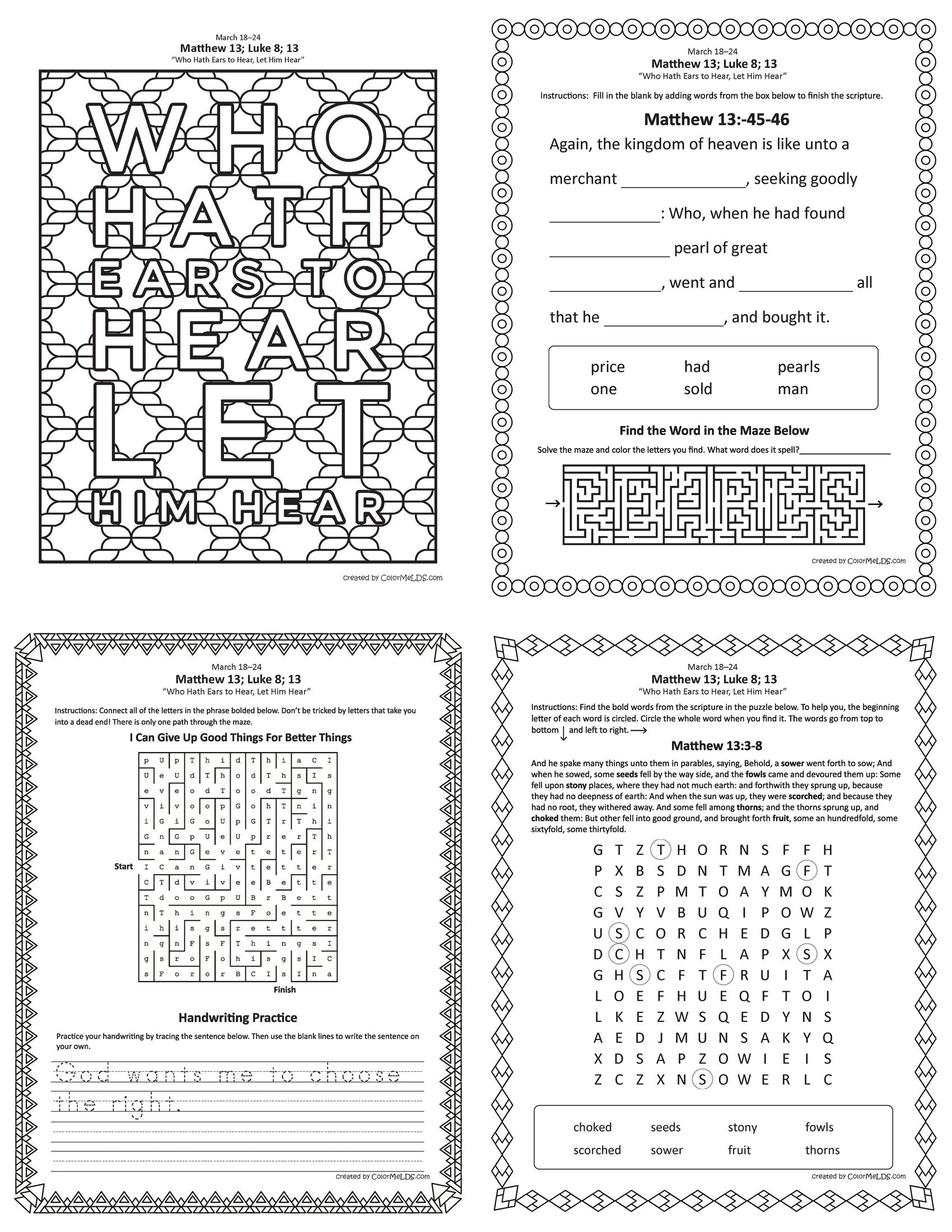 Free Lds Worksheets And Printables Word Crumb Mazes Word