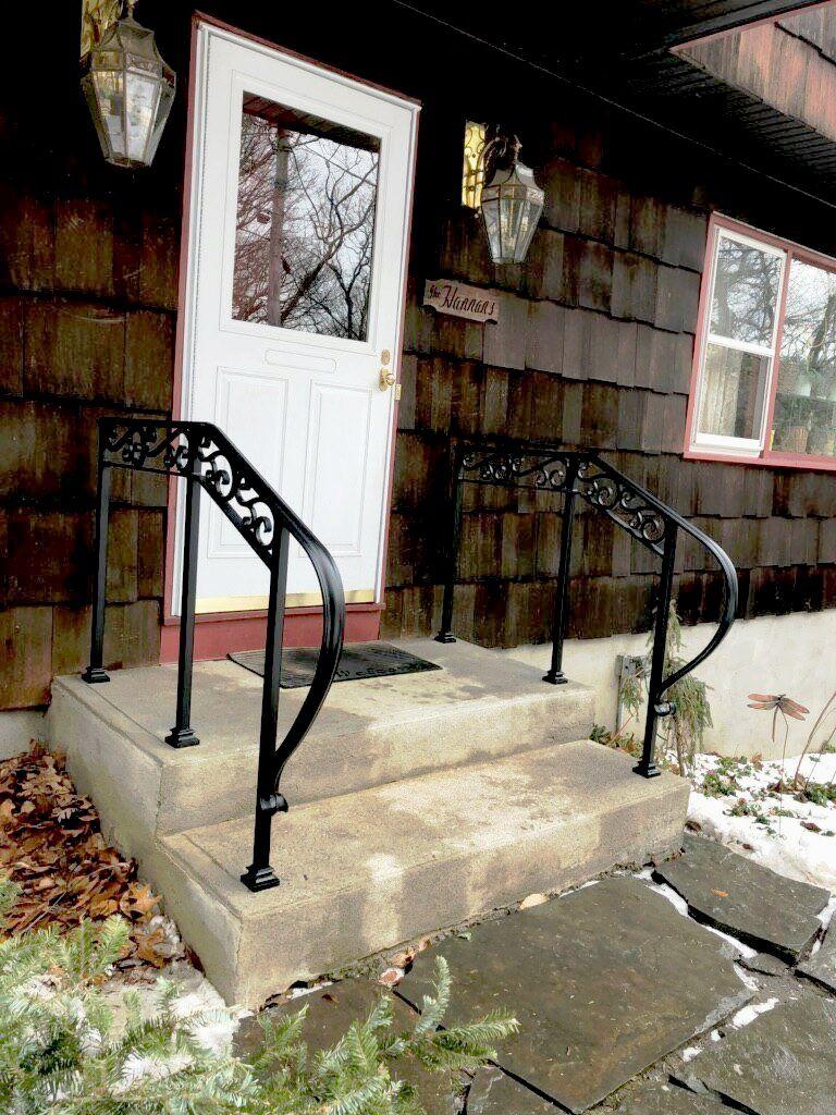 Basic 2 Rail Wrought Iron Handrail With Decorative Scrolls