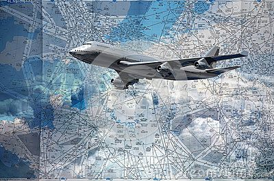 Flight routes map, north of France and south of England, at the background of a flying plane.