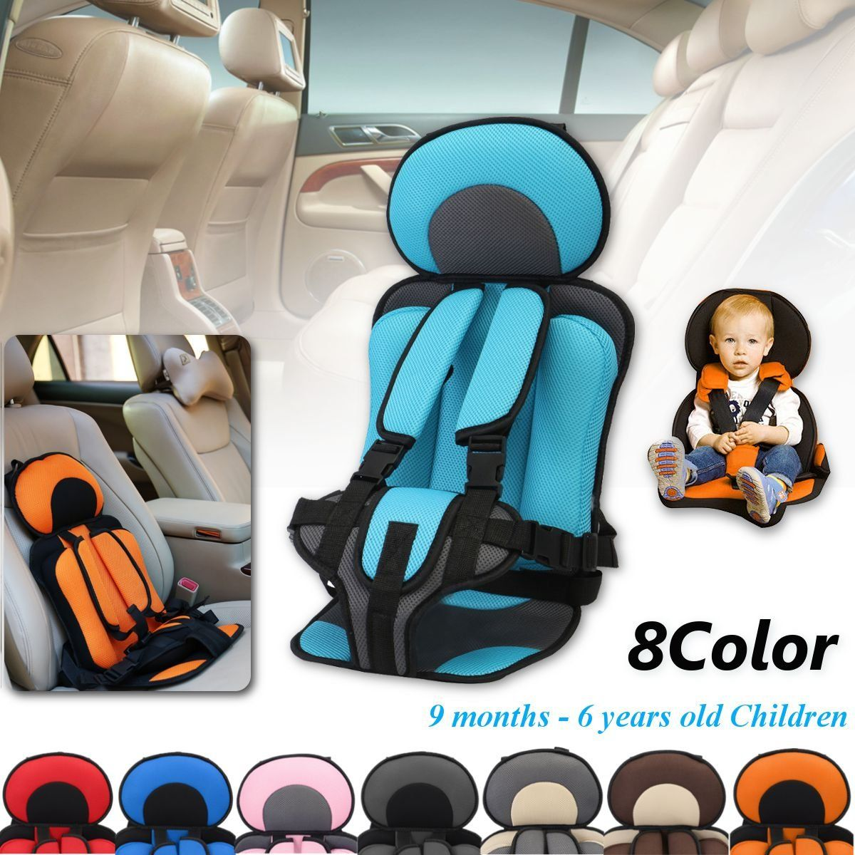 Pink Baby Convertible Car Seat Safety Chair Infant Kid Travel Booster Cup Holder