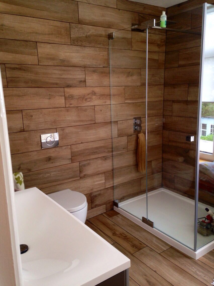 Our bathroom at home wood effect porcelain tiles for Mosaic tile bathroom design