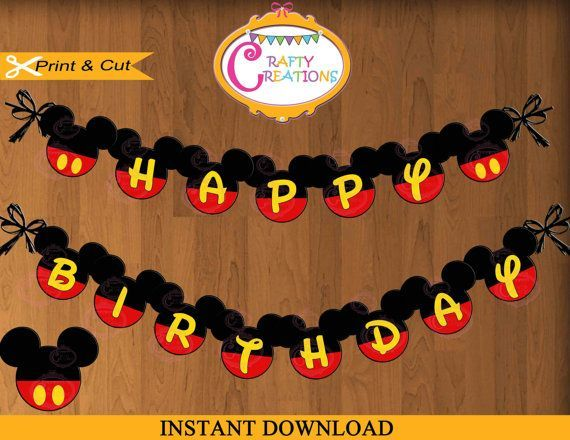 INSTANT DOWNLOAD Printable Happy Birthday Mickey Mouse ...
