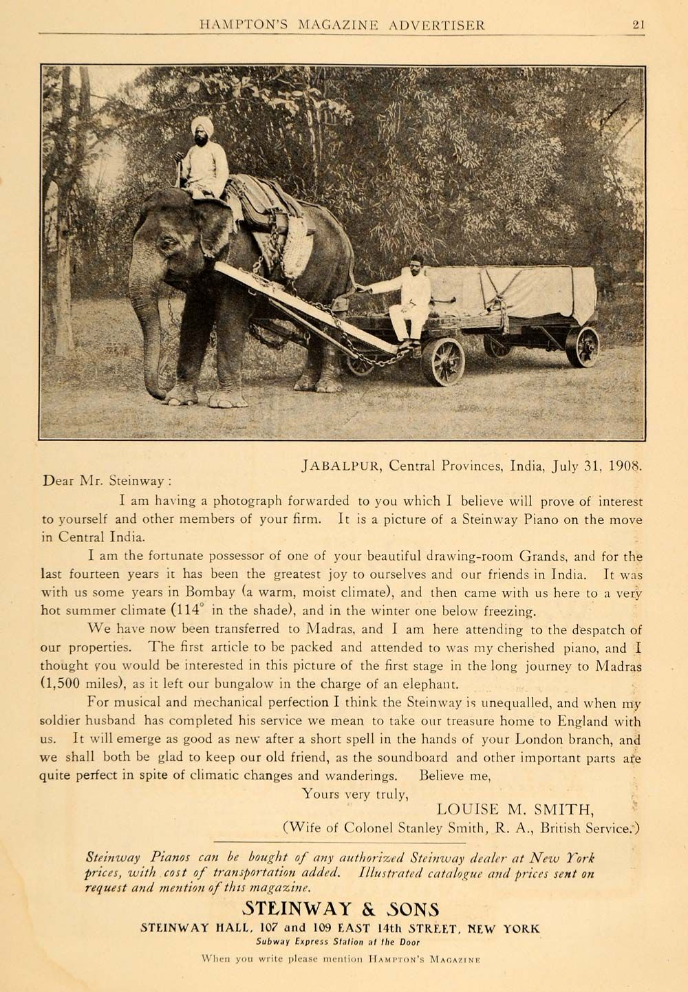 1909 Ad - Steinway & Sons - Letter from Louise M. Smith, Jabalpur ...