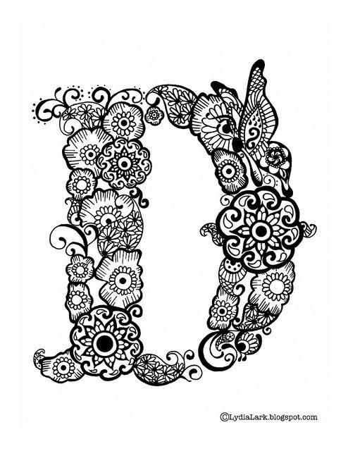Henna Tattoo Alphabet: Printable Henna Letter D From Lydia Lark