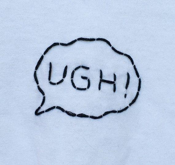 OH MANN Die 1975 inspiriert bestickte T-Shirt / von urbanstitchings #whiteembroidery