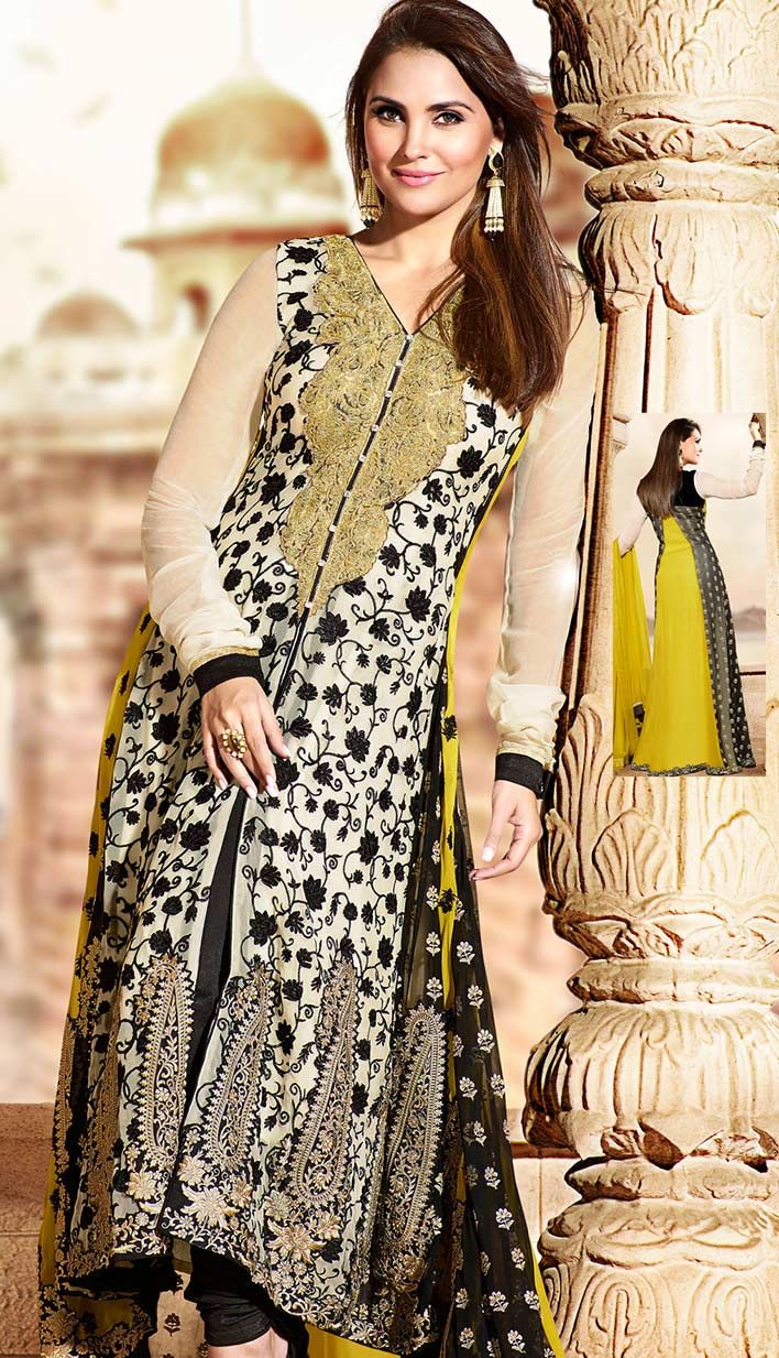 This alluring cream black and yellow coloured georgette