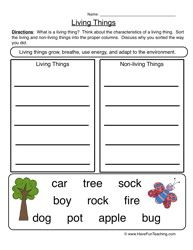Characteristics Living Things Worksheet 2 Sort With Images